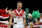 Mark Gasnier of the Dragons leaves the field after playing his final game at WIN Jubilee Oval. Photo / Getty Images