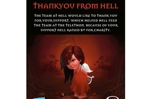 A Hell poster promotes its assistance to the Telethon. Photo / Herald on Sunday
