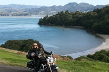 Overlooking Anzac Bay near Waihi Beach on a Bularangi Motorbikes Harley driven by the owner of the b