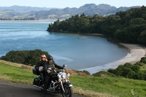 Overlooking Anzac Bay near Waihi Beach on a Bularangi Motorbikes Harley driven by the owner of the business, Baz Howie. Photo / Supplied