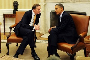 The PM was the consummate professional on his first official trip to the White House. Photo / AFP