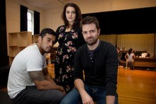 Robbie Magasiva (Othello), Morgana O'Reilly (Desdemona) and Matt Minto (Iago) take a break from rehearsal for the play 'Othello.'  Photo / Natalie Slade