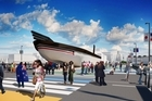 An artist's impression of the waterfront waka, which will host performances, events and an exhibition of Maori rugby. Photo / Supplied