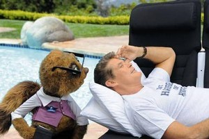 Rico and David Hasselhoff promote Air New Zealand. Photo / Supplied