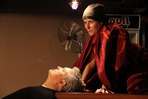 Belinda Wylie as the Buddhist nun and Simon Clark as the world-weary bartender in 'Sexy Buddha.' Photo / Supplied