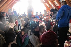 Trapped skiers settle in for an uncomfortable night's sleep in the Mt Lyford lodge. Photo / Supplied