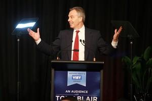 Tony Blair spoke at Eden Park recently. Photo / Herald on Sunday