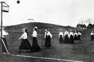 Women play netball in the Auckland Domain around the early 1900s. Photo / NZNA