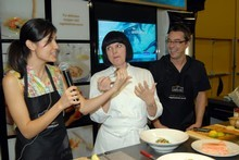 From left, 'MasterChef' winner 2011 Nadia Lim, judge Julie Le Clerc and 2010 winner Brett McGregor. Photo / Michael Craig 