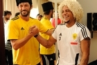 It was a chance to try on traditional hats when Coach Arsen Akayev welcomed Brazlian Roberto Carlos to Russian club Anzhi. Photo / AP