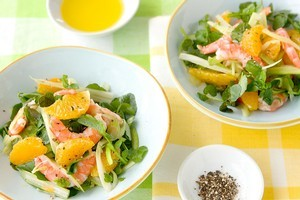 Grapefruit, prawn, watercress and fennel salad. Photo / Babiche Martens
