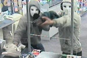 The Casper robbers terrified staff at the Katikati Paper Plus & Post Shop. Photo / Supplied
