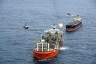 Umuroa off-loading to the tanker Akama at the Tui oilfield, 50km off the coast of Taranaki. Photo / supplied