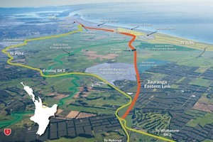 Map showing the route of the Tauranga Eastern Link roading project, one of the government's 'roads of national significance'. Photo / supplied