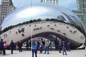 Chicago's striking Cloud Gate sculpture - commonly referred to as The Bean - is made up of 168 stainless-steel plates welded together. Photo / Roger Hall