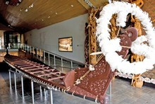 War canoe, Te Whare Waka o Te Winika at Waikato museum. Photo / Supplied
