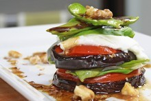 Eggplant Stack with Buffalo Mozzarella. Photo / Supplied