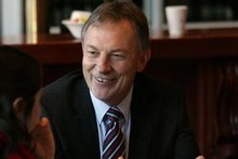 Phil Goff smiles at a Rotary breakfast in Napier this morning, despite a new poll confirming Labour's slump. Photo / Hawke's Bay Today
