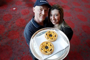 Shane and Kathy Kearns won the supreme pie award for their fruity port, plum and apple pie. Photo / Steven McNicholl