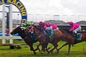 The Ruakaka winning post. Photo / The Northern Advocate