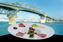 The Wharf's degustation menu included charred yellowfin tuna with pickled cherries, wasabi avocado and soy gel. Photo / Sarah Ivey