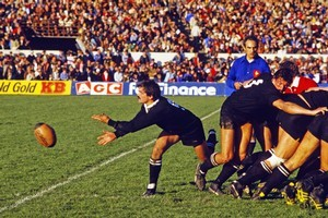 Dave Loveridge passes the ball from a scrummage during the first test match between New Zealand and the British Lions in 1983. Photo / Getty Images