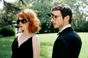 Shirley Mason and Elijah Wood in an Oliver Peoples campaign. Photo / Supplied