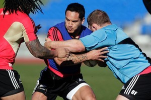 Hosea Gear enjoys his work during training at  the Trusts Stadium in West Auckland yesterday. Photo / Dean Purcell.