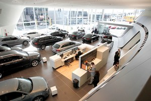 Colin Giltrap's Audi showroom in Great North Rd was built to strict German design criteria. Photo / Steven McNicholl