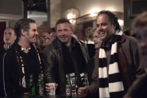 Steinlager's latest advertising campaign features the white can of the 1980s. Photo / Supplied