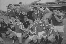 The French are ecstatic with their test series win over the All Blacks in 1994.