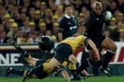 Jonah Lomu featured in some memorable Bledisloe clashes. Photo / Allsport