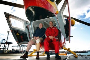 Steven Rastovich (L) knows how vital the Westpac Rescue choppers are - pilot Robert Anderson and crew helped save his life last year. Photo / Sarah Ivey