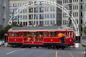 A pair of restored heritage trams will travel on the Wynyard Loop. Photo / Paul Estcourt