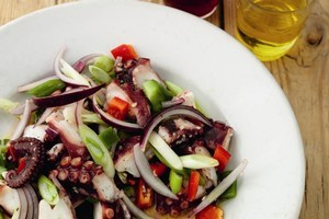 Rick Stein's octopus salad with spring onions and peppers (pulpo vinagreta). Photo / Supplied