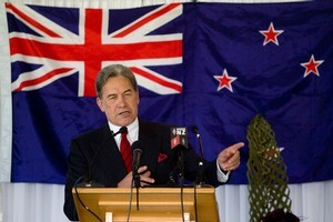 Winston Peters claimed at NZ First's annual convention that Rodney Hide had been offered a plum job to go quietly. Photo / Richard Robinson