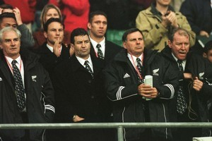 John Banks, Wayne Smith, John Hart and Peter Sloane are stunned by the All Blacks' 1999 Cup loss. Photo / Getty Images