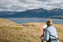 Sketching at Jack's point on the Art Adventures experience. Photo / Supplied