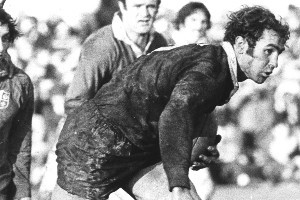 When Ian Kirkpatrick ended up with the ball, he just started running, fending off Lions along the way.  Photo / Herald archives
