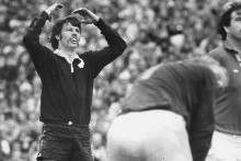 Alan Hewson watches the flight of the ball that won the third test against South Africa in 1981. Photo / Herald archives