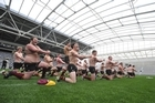 Players from Otago University's Selwyn College perform a haka to celebrate their win over Knox College after the first match at Forsyth Barr Stadium. Photo / Supplied