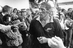Bloodied and tired, All Blacks captain Wayne Shelford leaves Concord Oval, Sydney, at the end of his team's overwhelming victory in 1988. Photo / NZ Herald Archives