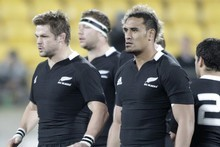 Richie McCaw and Jerome Kaino wearing the new All Black jersey in the team's test against South Africa on Saturday. Photo / Mark Mitchell