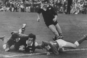 Bryan Williams almost over for the try he thought he had scored against West Wales at Swansea during the 1978 tour. New Zealand Herald Archives / Peter Bush