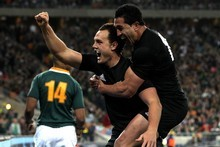 Israel Dagg celebrates after scoring the match-winner against South Africa last year. Photo / Getty Images 
