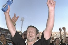 Sean Fitzpatrick celebrates after the 1996 All Blac