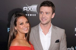 Justin Timberlake joked that his 'Friends With Benefits' co-star Mila Kunis was his bodyguard after she leapt to his defence during a press conference in Russia. Photo / AFP