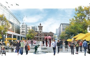 The Christchurch Central City Earthquake recovery Plan artist impression showing expanded green spaces, low-rise buildings  and light rail for a newly rebuilt Christchurch City. Image / supplied