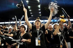 New Zealand fans cheer for their team during the World Netball Championships in Singapore. File photo / Getty Images