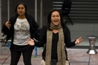Tupe Lualua (left) and Joanna Mika-Toloa rehearse for The Factory. Photo / Richard Robinson